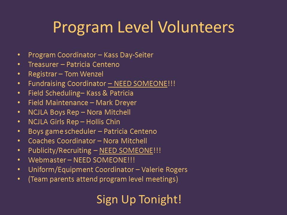 Program Level Volunteers Program Coordinator – Kass Day-Seiter Treasurer – Patricia Centeno Registrar – Tom Wenzel Fundraising Coordinator – NEED SOMEONE!!.