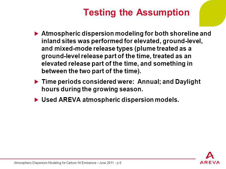 Atmospheric Dispersion Modeling for Carbon-14 Emissions – June 2011 - p.6 Testing the Assumption Atmospheric dispersion modeling for both shoreline and inland sites was performed for elevated, ground-level, and mixed-mode release types (plume treated as a ground-level release part of the time, treated as an elevated release part of the time, and something in between the two part of the time).