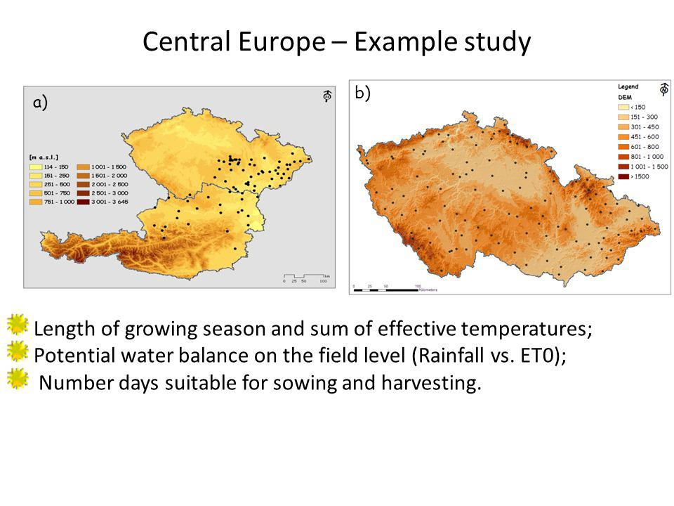 Central Europe – Example study Length of growing season and sum of effective temperatures; Potential water balance on the field level (Rainfall vs. ET