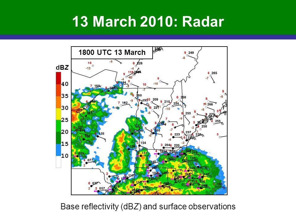 13 March 2010: Radar Base reflectivity (dBZ) and surface observations 1800 UTC 13 March dBZ
