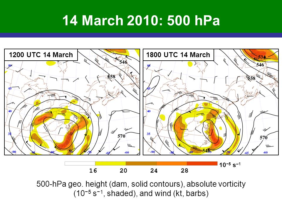 500-hPa geo. height (dam, solid contours), absolute vorticity (10 5 s 1, shaded), and wind (kt, barbs) 14 March 2010: 500 hPa 10 5 s –1 1200 UTC 14 Ma