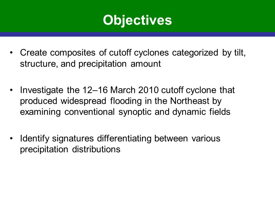 Objectives Create composites of cutoff cyclones categorized by tilt, structure, and precipitation amount Investigate the 12–16 March 2010 cutoff cyclo