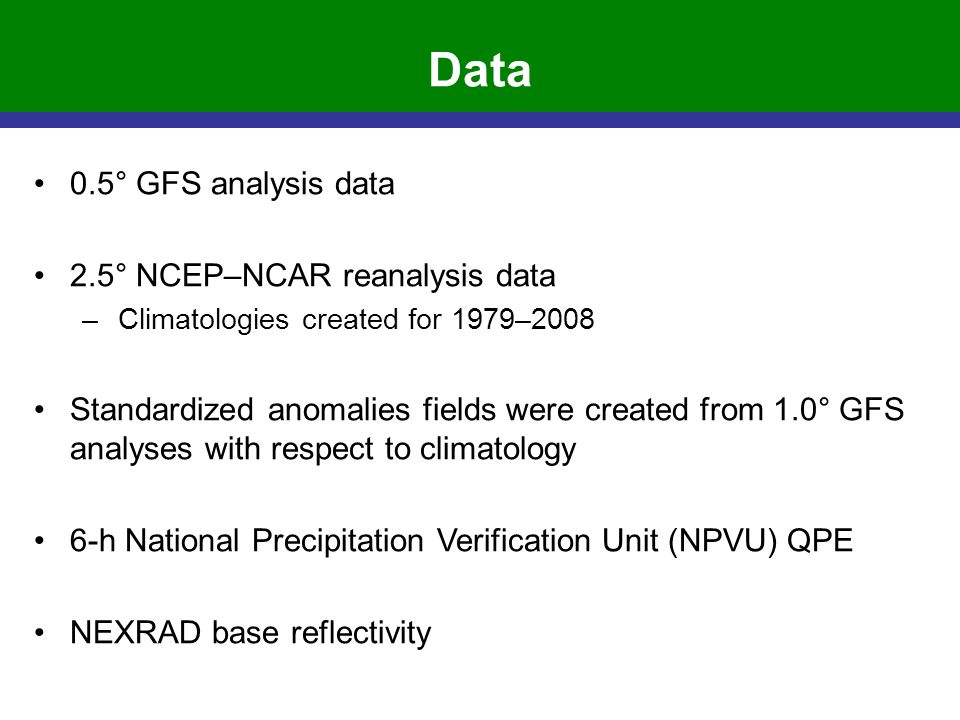 Data 0.5° GFS analysis data 2.5° NCEP–NCAR reanalysis data –Climatologies created for 1979–2008 Standardized anomalies fields were created from 1.0° G