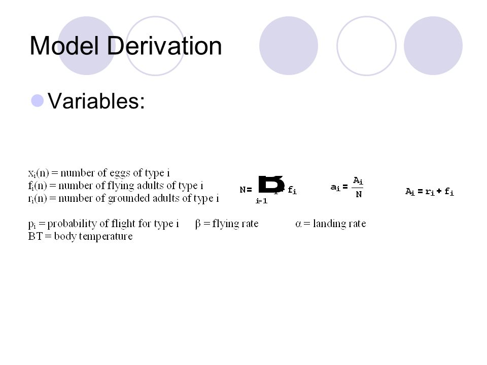 Model Derivation Variables: