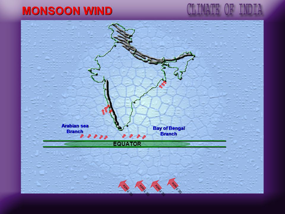 SOUTH WEST MONSOON SEASON It extends from June to September. Intense heating in north west India creates low pressure region. Low pressure attract the