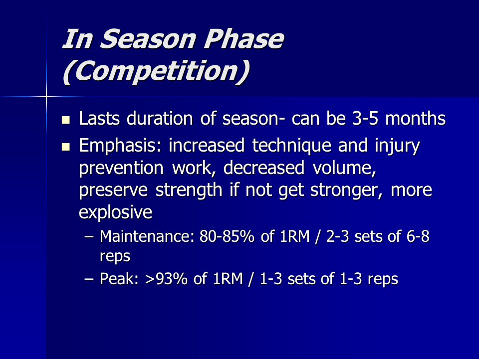 In Season Phase (Competition) Lasts duration of season- can be 3-5 months Lasts duration of season- can be 3-5 months Emphasis: increased technique an