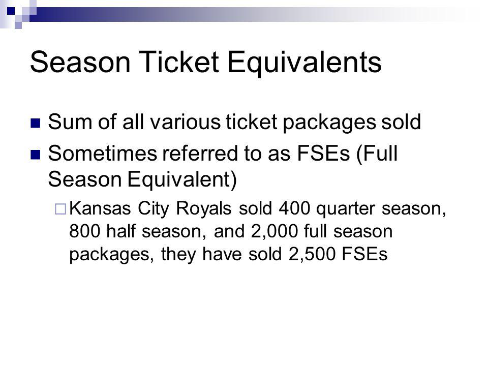 Season Ticket Equivalents Sum of all various ticket packages sold Sometimes referred to as FSEs (Full Season Equivalent) Kansas City Royals sold 400 quarter season, 800 half season, and 2,000 full season packages, they have sold 2,500 FSEs