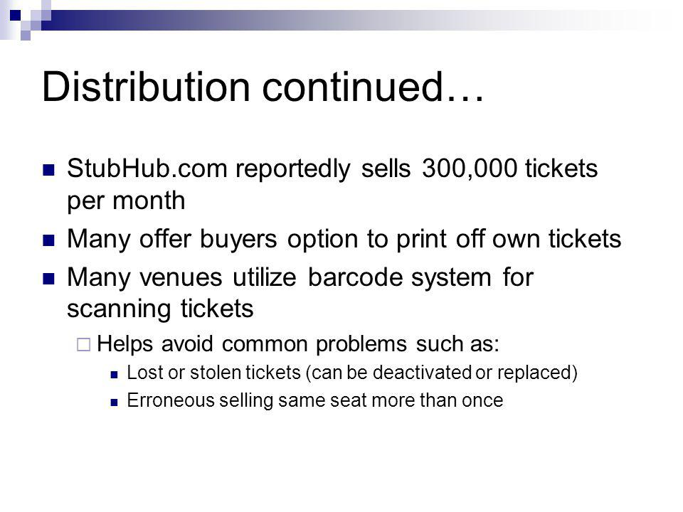 Distribution continued… StubHub.com reportedly sells 300,000 tickets per month Many offer buyers option to print off own tickets Many venues utilize barcode system for scanning tickets Helps avoid common problems such as: Lost or stolen tickets (can be deactivated or replaced) Erroneous selling same seat more than once