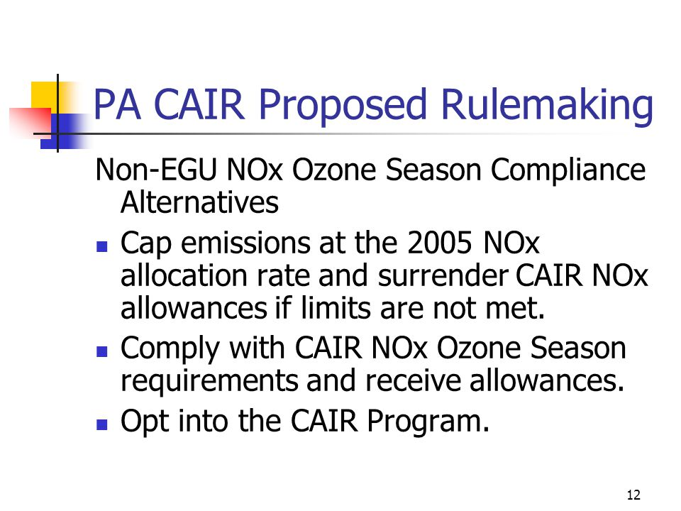 12 PA CAIR Proposed Rulemaking Non-EGU NOx Ozone Season Compliance Alternatives Cap emissions at the 2005 NOx allocation rate and surrender CAIR NOx allowances if limits are not met.