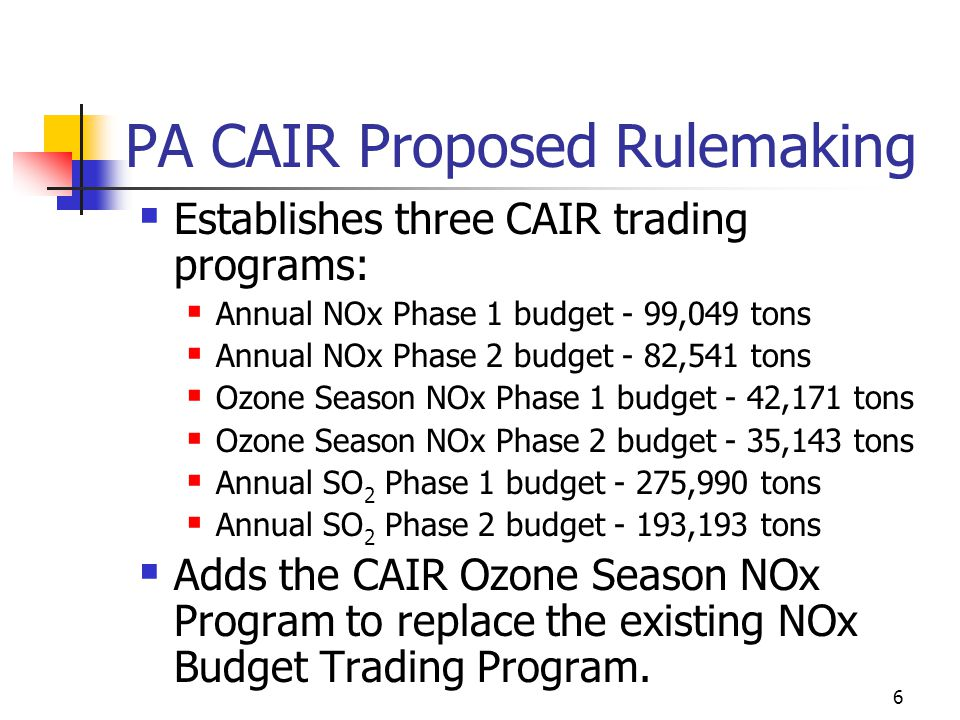 6 PA CAIR Proposed Rulemaking Establishes three CAIR trading programs: Annual NOx Phase 1 budget - 99,049 tons Annual NOx Phase 2 budget - 82,541 tons Ozone Season NOx Phase 1 budget - 42,171 tons Ozone Season NOx Phase 2 budget - 35,143 tons Annual SO 2 Phase 1 budget - 275,990 tons Annual SO 2 Phase 2 budget - 193,193 tons Adds the CAIR Ozone Season NOx Program to replace the existing NOx Budget Trading Program.