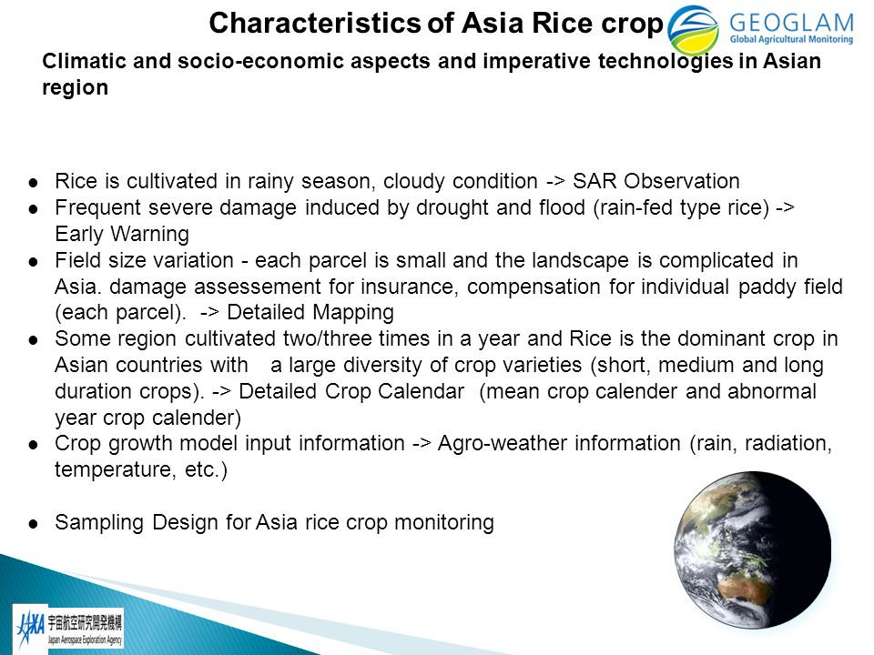 2012/7: Report about Asia rice crop monitoring requirement to CEOS UR meeting at Montreal (by Shinichi) 2012/9: Develop draft Asia rice crop monitoring work plan 2012/11: Review the work plan at ACRS2012 hosted by GISTDA, Thailand with AARS 2012/12: Approve the work plan at APRSAF-19 hosted by ANGASA and Japan and submit it to Joao With monthly Asia rice crop monitoring telecon 5