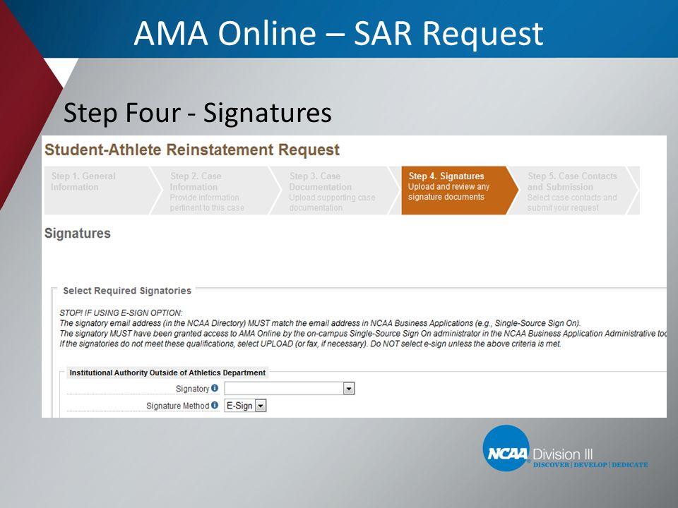 AMA Online – SAR Request Step Four - Signatures