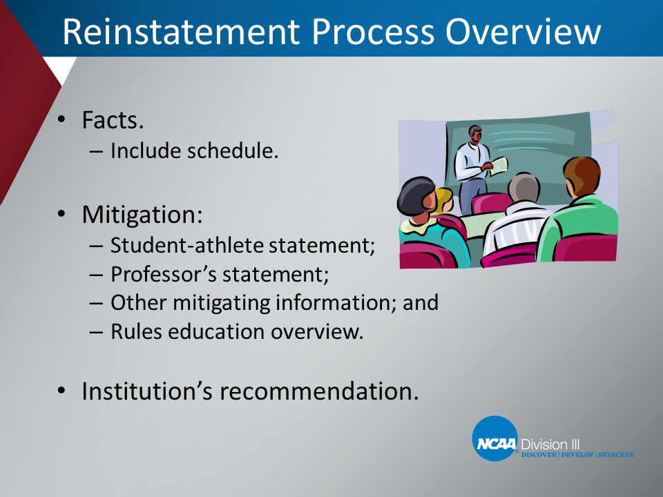 Facts. – Include schedule. Mitigation: – Student-athlete statement; – Professors statement; – Other mitigating information; and – Rules education over