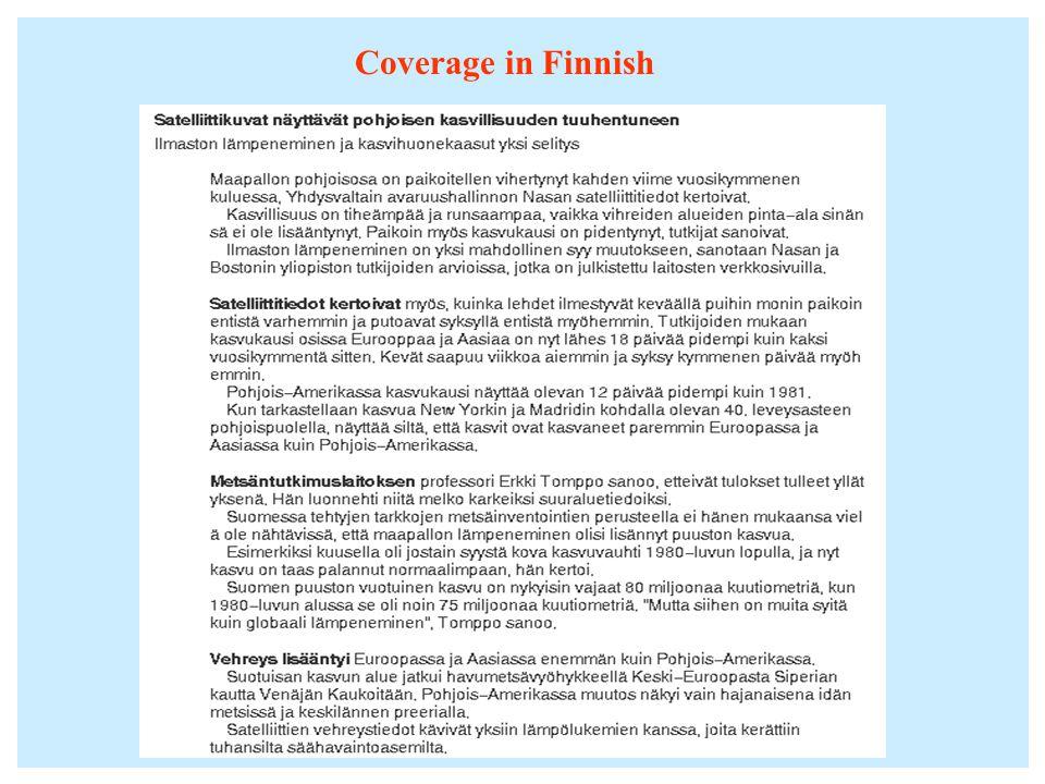 Coverage in Finnish