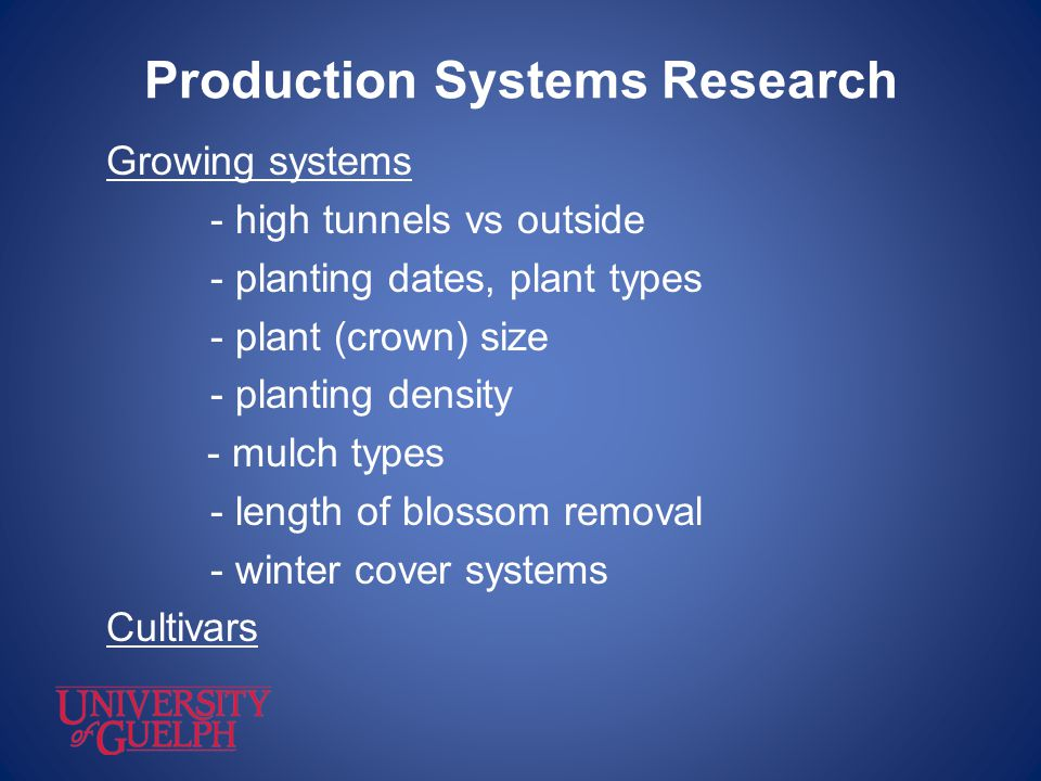 Production Systems Research Growing systems - high tunnels vs outside - planting dates, plant types - plant (crown) size - planting density - mulch ty
