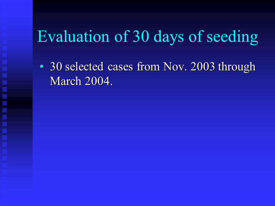 Evaluation of 30 days of seeding 30 selected cases from Nov.