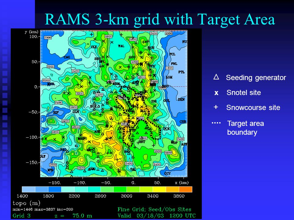 RAMS 3-km grid with Target Area Seeding generator x Snotel site + Snowcourse site Target area boundary