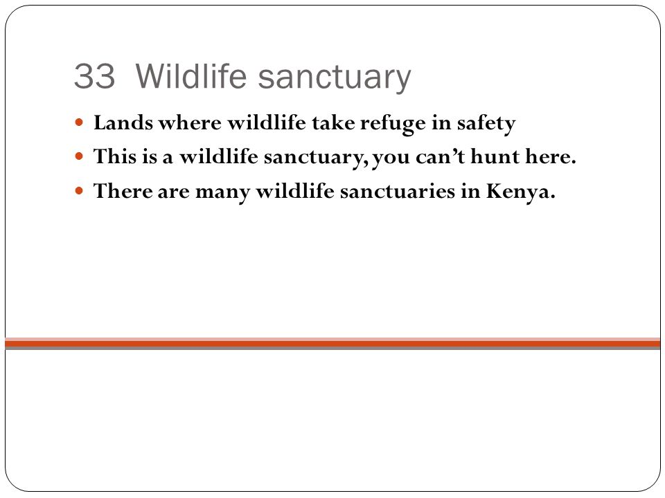 33 Wildlife sanctuary Lands where wildlife take refuge in safety This is a wildlife sanctuary, you cant hunt here.