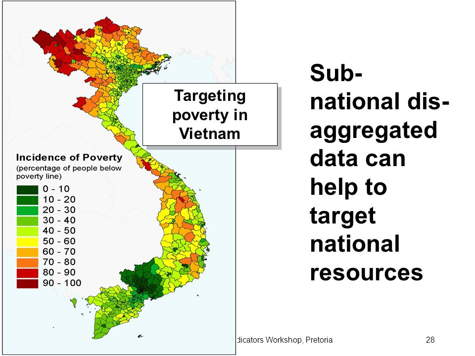 June 2006Transport Indicators Workshop, Pretoria28 Targeting poverty in Vietnam Sub- national dis- aggregated data can help to target national resources