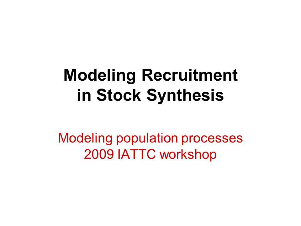 Outline Spawner-recruit curves Temporal variation –deviates –bias correction –autocorrelation –initial recruitment Covariate Recruitment cycles Fecundity