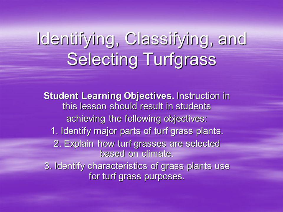 Identifying, Classifying, and Selecting Turfgrass Student Learning Objectives.