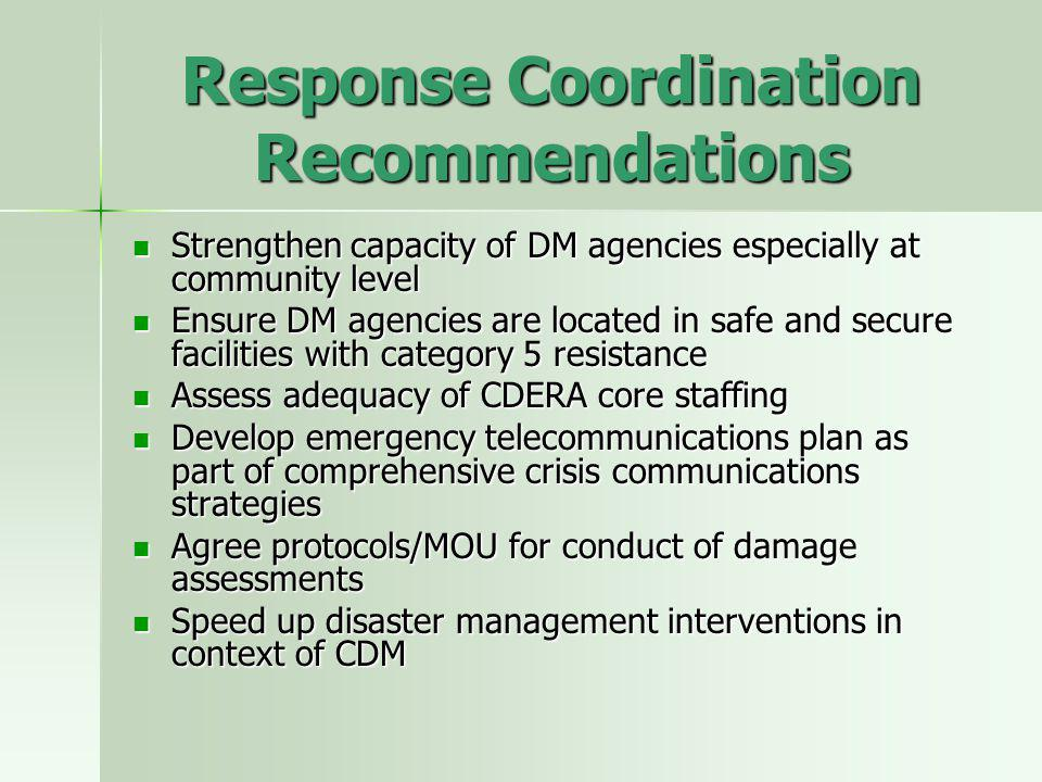 Response Coordination Recommendations Strengthen capacity of DM agencies especially at community level Strengthen capacity of DM agencies especially at community level Ensure DM agencies are located in safe and secure facilities with category 5 resistance Ensure DM agencies are located in safe and secure facilities with category 5 resistance Assess adequacy of CDERA core staffing Assess adequacy of CDERA core staffing Develop emergency telecommunications plan as part of comprehensive crisis communications strategies Develop emergency telecommunications plan as part of comprehensive crisis communications strategies Agree protocols/MOU for conduct of damage assessments Agree protocols/MOU for conduct of damage assessments Speed up disaster management interventions in context of CDM Speed up disaster management interventions in context of CDM