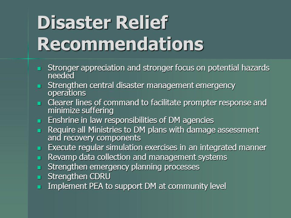 Disaster Relief Recommendations Stronger appreciation and stronger focus on potential hazards needed Stronger appreciation and stronger focus on potential hazards needed Strengthen central disaster management emergency operations Strengthen central disaster management emergency operations Clearer lines of command to facilitate prompter response and minimize suffering Clearer lines of command to facilitate prompter response and minimize suffering Enshrine in law responsibilities of DM agencies Enshrine in law responsibilities of DM agencies Require all Ministries to DM plans with damage assessment and recovery components Require all Ministries to DM plans with damage assessment and recovery components Execute regular simulation exercises in an integrated manner Execute regular simulation exercises in an integrated manner Revamp data collection and management systems Revamp data collection and management systems Strengthen emergency planning processes Strengthen emergency planning processes Strengthen CDRU Strengthen CDRU Implement PEA to support DM at community level Implement PEA to support DM at community level