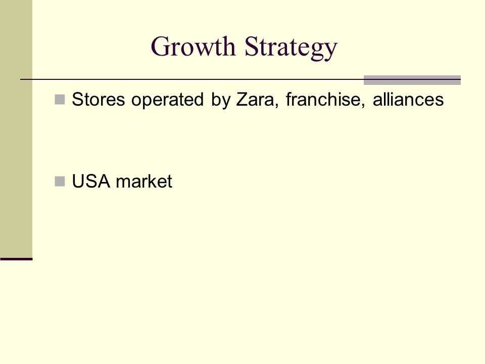 Growth Strategy Stores operated by Zara, franchise, alliances USA market