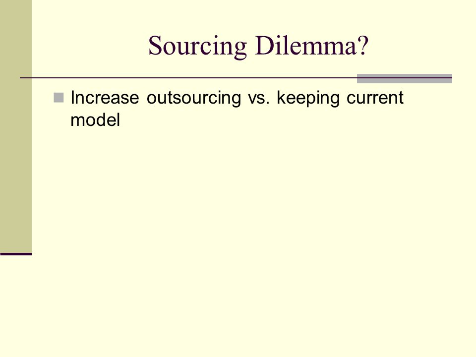 Sourcing Dilemma? Increase outsourcing vs. keeping current model