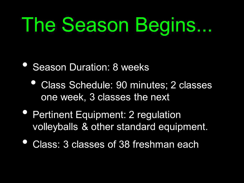 The Season Begins... Season Duration: 8 weeks Class Schedule: 90 minutes; 2 classes one week, 3 classes the next Pertinent Equipment: 2 regulation vol