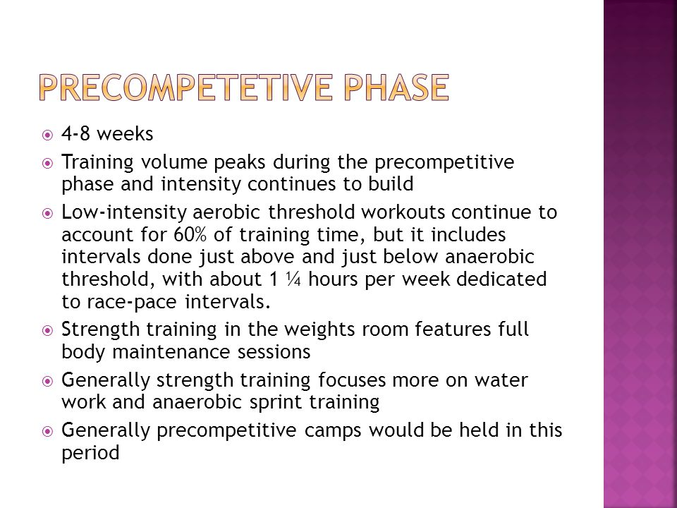 4-8 weeks Training volume peaks during the precompetitive phase and intensity continues to build Low-intensity aerobic threshold workouts continue to account for 60% of training time, but it includes intervals done just above and just below anaerobic threshold, with about 1 ¼ hours per week dedicated to race-pace intervals.