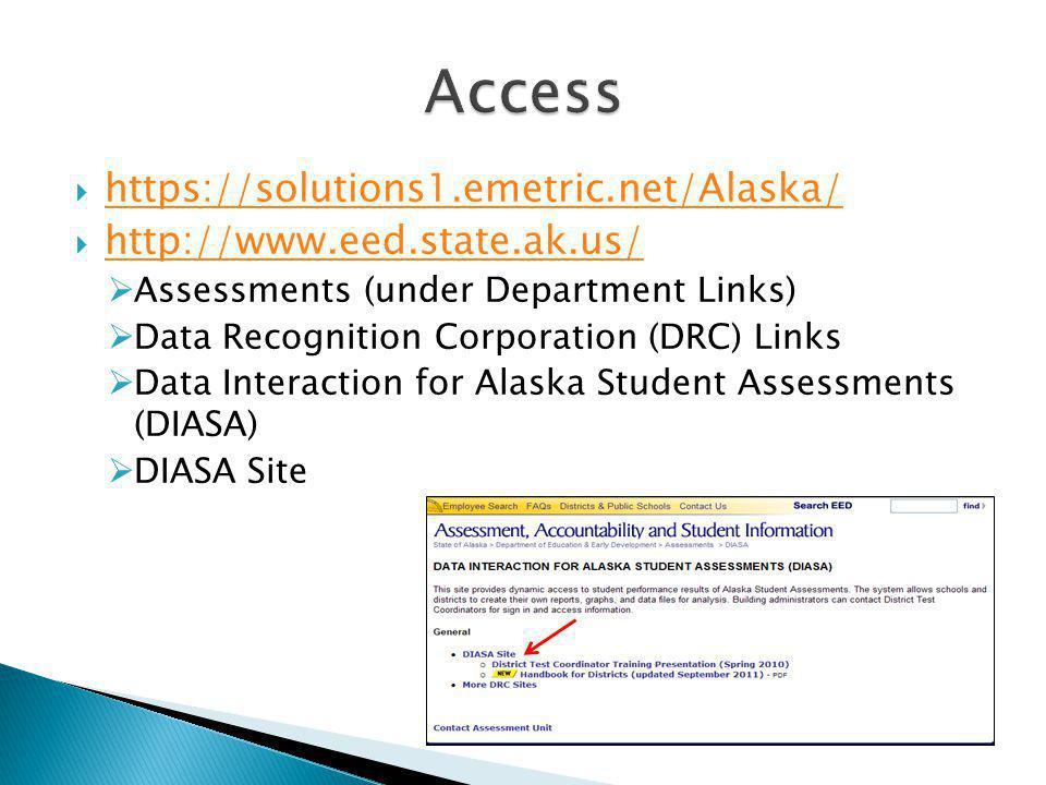 https://solutions1.emetric.net/Alaska/ http://www.eed.state.ak.us/ Assessments (under Department Links) Data Recognition Corporation (DRC) Links Data Interaction for Alaska Student Assessments (DIASA) DIASA Site