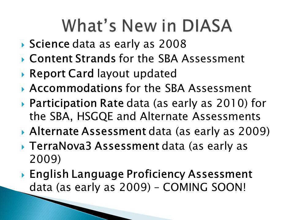 Science data as early as 2008 Content Strands for the SBA Assessment Report Card layout updated Accommodations for the SBA Assessment Participation Rate data (as early as 2010) for the SBA, HSGQE and Alternate Assessments Alternate Assessment data (as early as 2009) TerraNova3 Assessment data (as early as 2009) English Language Proficiency Assessment data (as early as 2009) – COMING SOON!