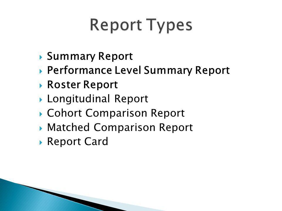 Summary Report Performance Level Summary Report Roster Report Longitudinal Report Cohort Comparison Report Matched Comparison Report Report Card