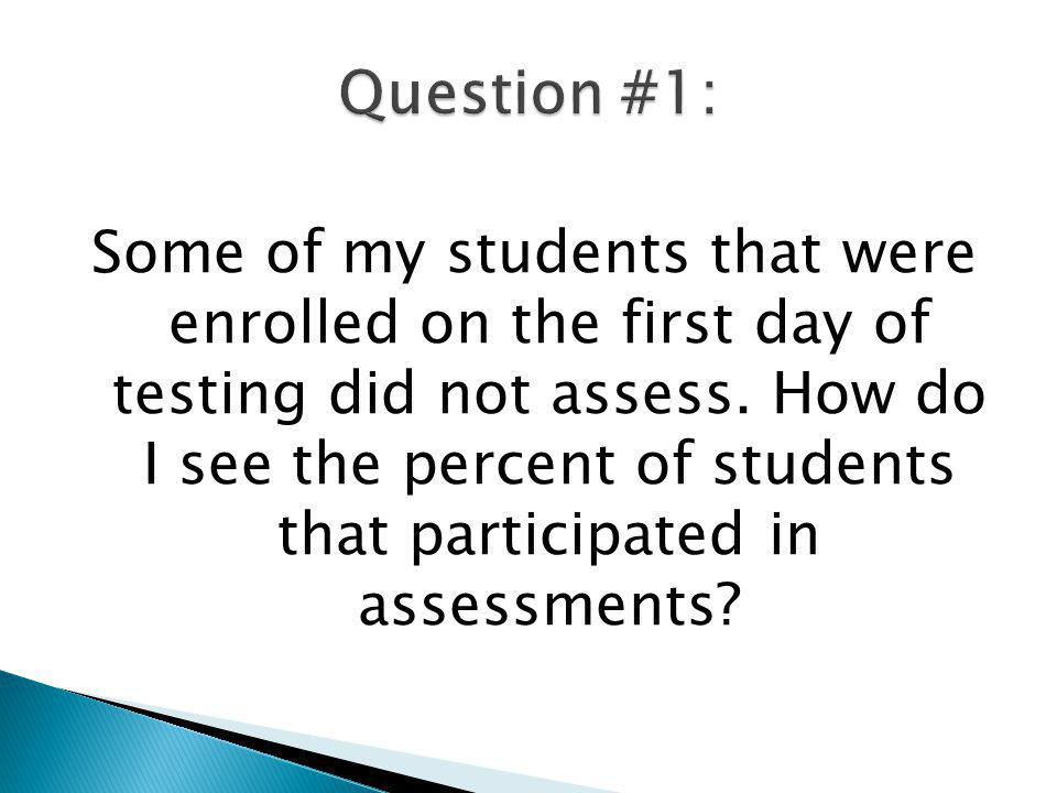 Some of my students that were enrolled on the first day of testing did not assess. How do I see the percent of students that participated in assessmen