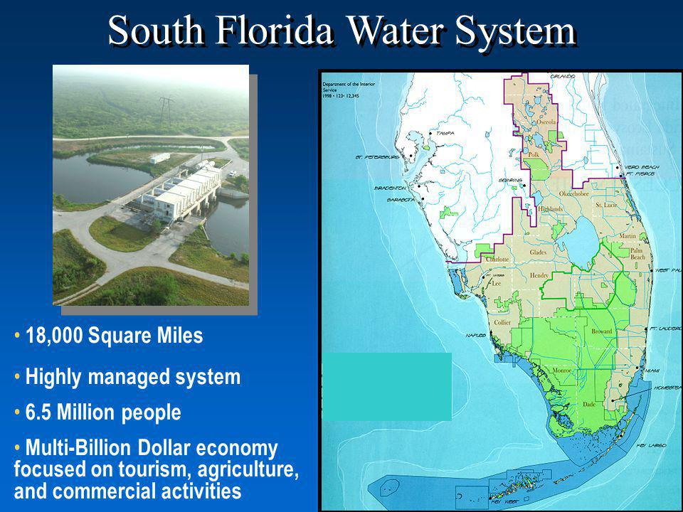 18,000 Square Miles Highly managed system 6.5 Million people Multi-Billion Dollar economy focused on tourism, agriculture, and commercial activities South Florida Water System