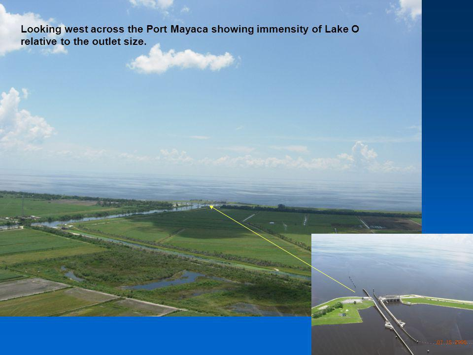 Looking west across the Port Mayaca showing immensity of Lake O relative to the outlet size.