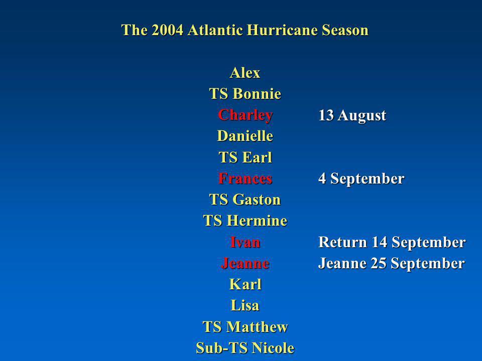The 2004 Atlantic Hurricane Season Alex TS Bonnie CharleyDanielle TS Earl Frances TS Gaston TS Hermine IvanJeanneKarlLisa TS Matthew Sub-TS Nicole 13 August 4 September Return 14 September Jeanne 25 September