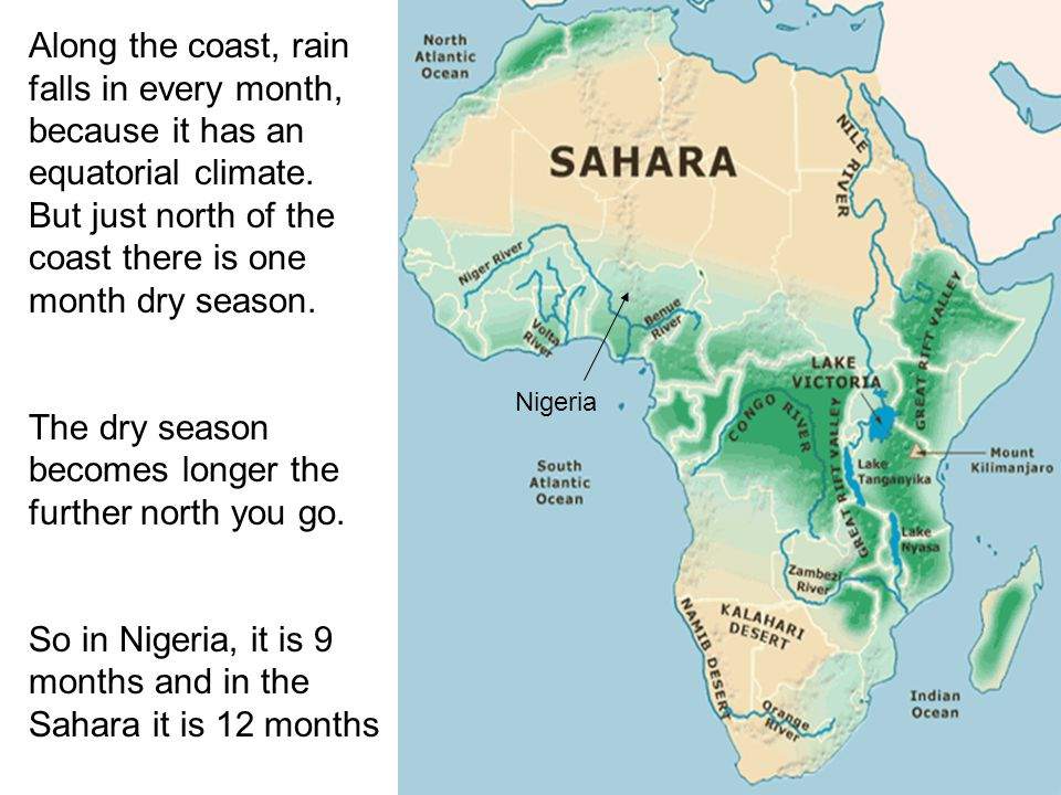 Along the coast, rain falls in every month, because it has an equatorial climate. But just north of the coast there is one month dry season. The dry s
