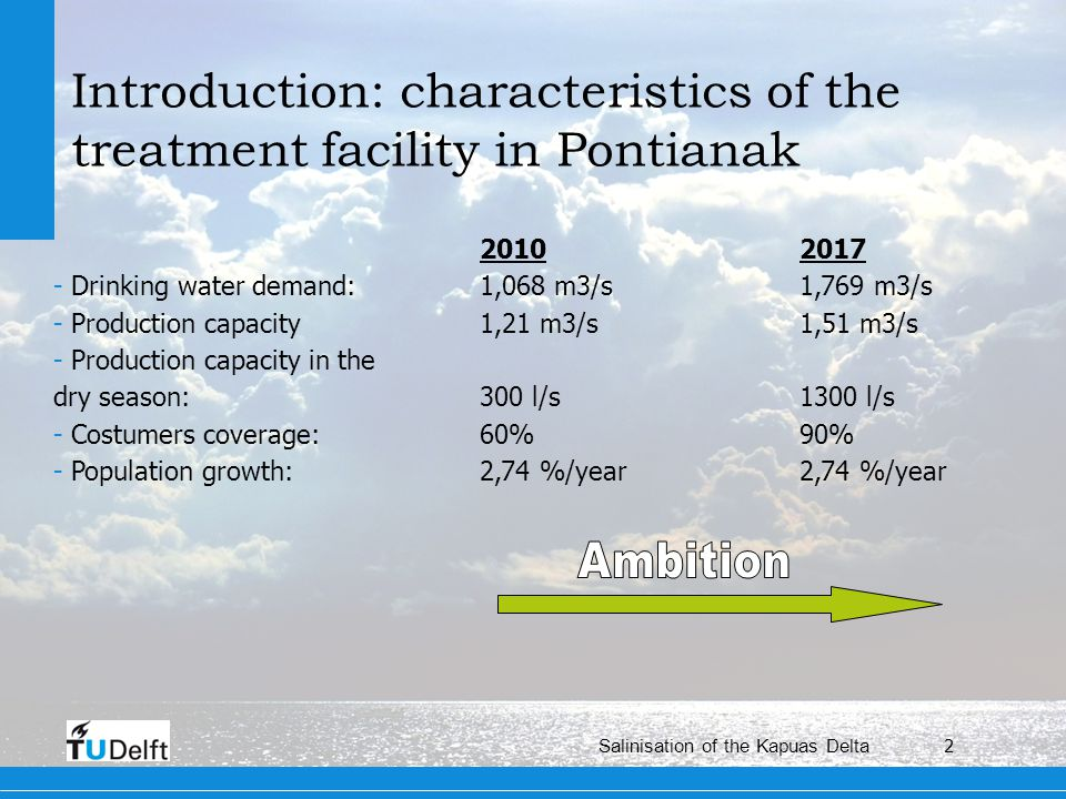 2 Salinisation of the Kapuas Delta Introduction: characteristics of the treatment facility in Pontianak 20102017 - Drinking water demand: 1,068 m3/s1,769 m3/s - Production capacity1,21 m3/s1,51 m3/s - Production capacity in the dry season: 300 l/s1300 l/s - Costumers coverage: 60%90% - Population growth: 2,74 %/year2,74 %/year