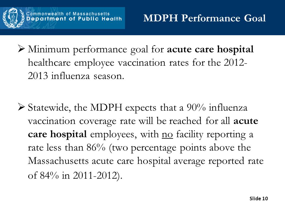 Slide 10 MDPH Performance Goal Minimum performance goal for acute care hospital healthcare employee vaccination rates for the 2012- 2013 influenza sea