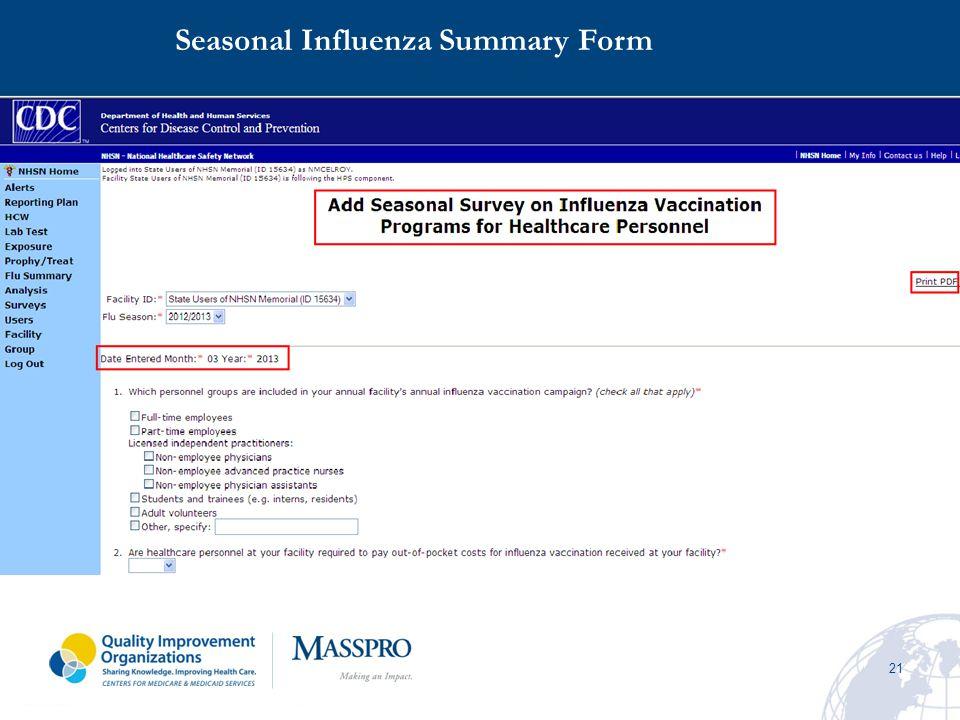 21 Seasonal Influenza Summary Form