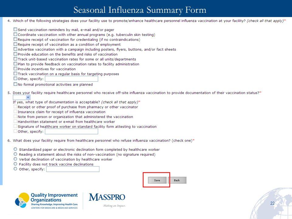 22 Seasonal Influenza Summary Form