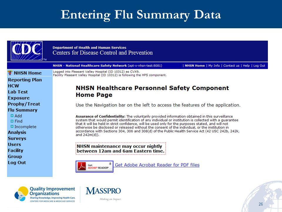 26 Entering Flu Summary Data