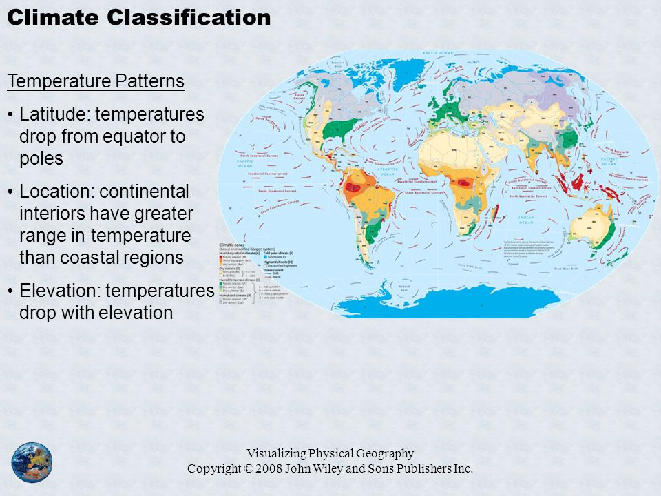 Visualizing Physical Geography Copyright © 2008 John Wiley and Sons Publishers Inc. Climate Classification Temperature Patterns Latitude: temperatures