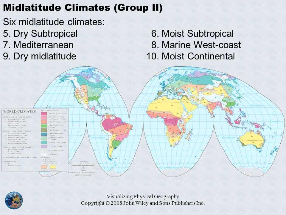 Visualizing Physical Geography Copyright © 2008 John Wiley and Sons Publishers Inc. Midlatitude Climates (Group II) Six midlatitude climates: 5. Dry S