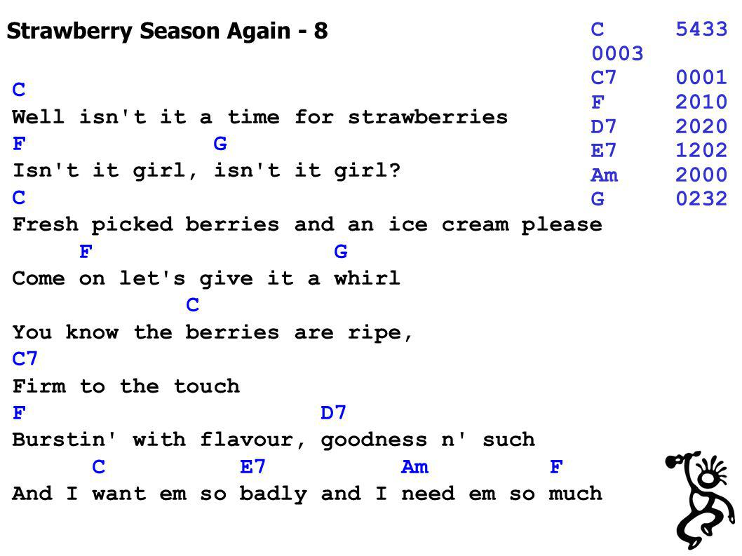 Strawberry Season Again - 8 C5433 0003 C70001 F2010 D72020 E71202 Am2000 G0232 C Well isn't it a time for strawberries F G Isn't it girl, isn't it gir
