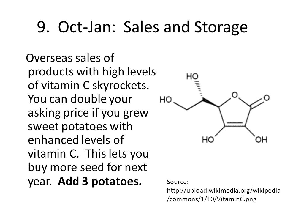 9. Oct-Jan: Sales and Storage Overseas sales of products with high levels of vitamin C skyrockets.