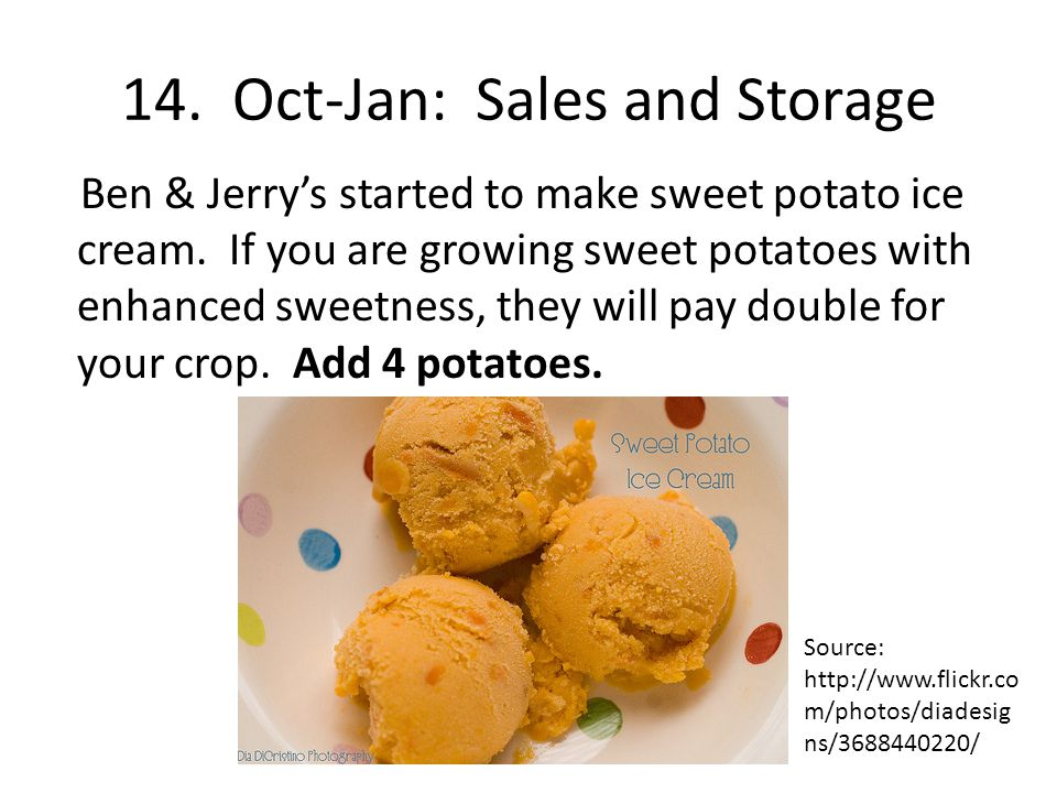 14. Oct-Jan: Sales and Storage Ben & Jerrys started to make sweet potato ice cream.