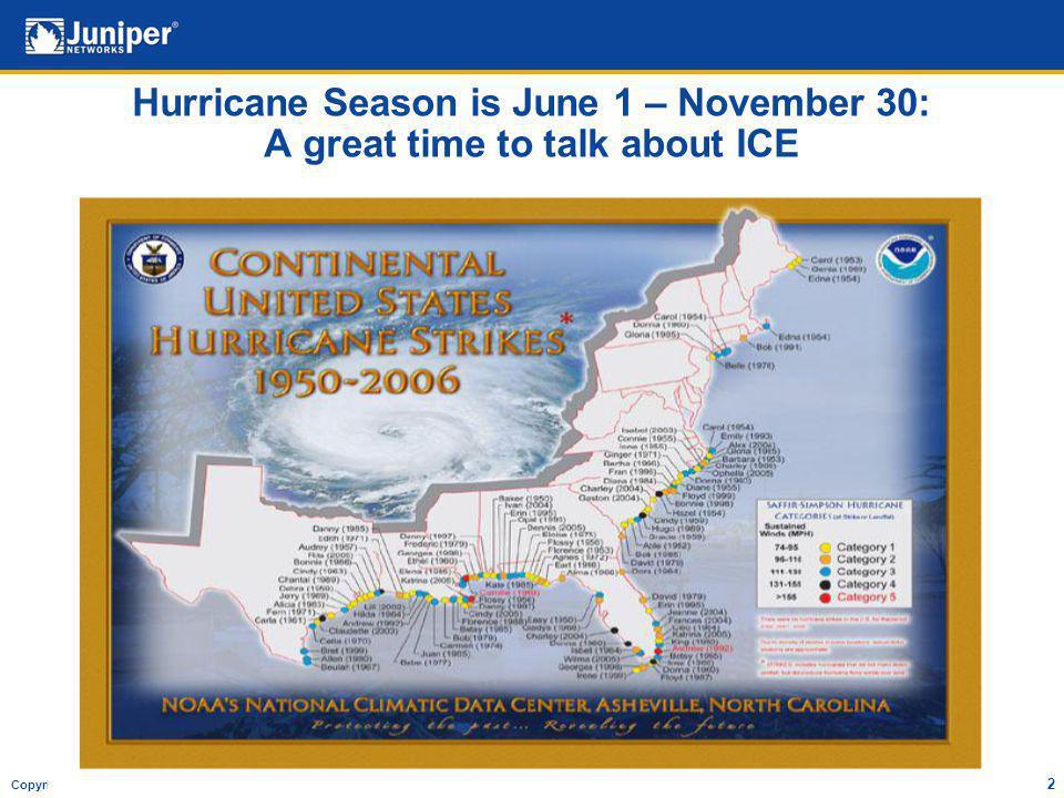 Copyright © 2007 Juniper Networks, Inc. Proprietary and Confidentialwww.juniper.net 2 Hurricane Season is June 1 – November 30: A great time to talk a